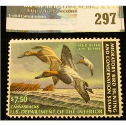 RW49 1982 Federal Migratory Bird Hunting and Conservation Stamp, not signed, NH, OG, VF.