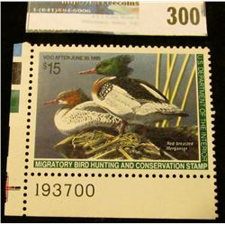 RW61 1994 Federal Migratory Bird Hunting and Conservation Stamp, plate number single, not signed, NH