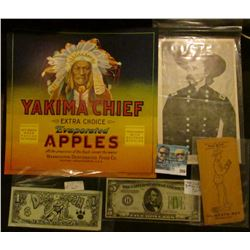 """George Armstrong Custer Portrait Card; Fruit Box Label """"Yakima Chief Extra Choice Evaporated Apples"""""""