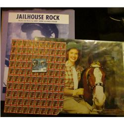 """10.5"""" x 13.5"""" Color Photo of a Cow Girl with horse (Dale Evans???); original .75c """"Jailhouse Rock Wo"""