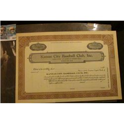 """Unissued Number 82 Common Stock Certificate """"Kansas City Baseball Club, Inc."""". Extremely Rare."""