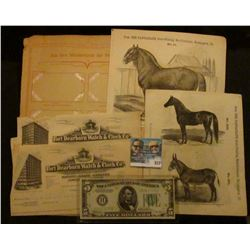 """Series 369 Nr. 1-6 """"Fechtkunst"""" Cards depicting Fencers in album page; lithographs of draft horses;"""