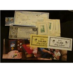 Set of Elvis King of Rock $5,000 & $50,000 Currency Scrip; (3) Different Coin Advertising Cards; (5)