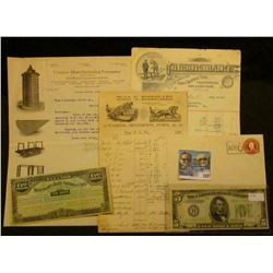 (3) Different 1896-1912 Invoices from Farm Implement Companies with attractive Letter heads; early 2