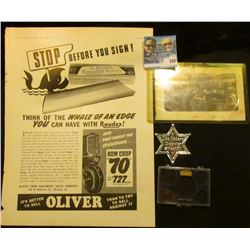 """""""Oliver Tractor"""" advertisement (Doc valued at $10); black and white post card depicting """"Oliver Plow"""