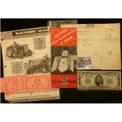 """Three-pieces of Oliver Plow/Corn Picker-Husker 2-Row advertising and memorabilia including on the """"B"""