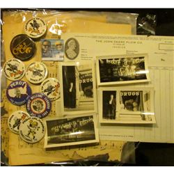 Several sheets of Music; several Hawkeye and Political Pin backs; pair of black & white photos of C.