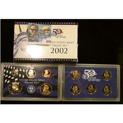 2002 S U.S. Cameo Frosted Proof Set in original box as issued. Contains Sacagawea Dollar and State Q