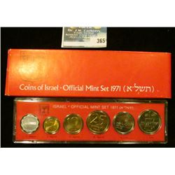 1971 Israel Official Mint Set, all coins and specially mint-marked and all sets are numbered. (6 Pie