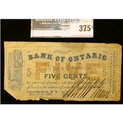 "Nov. 15th, 1862 Civil War note issued in Canandaigua, New York ""Bank of Ontarion Pay to the Bearer F"