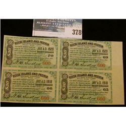 "(4) attached ""Rock Island and Peoria"" 1918-20 $30 in Gold Coin Interest bearing coupons."
