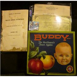 "Mint condition Fruit Box label ""Buddy The Northwest's Finest Apples""; 294 page coverless book ""Journ"