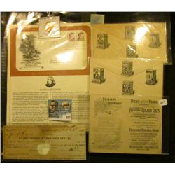"""Oct. 23d, 1876 …To Des Moines Water Company, Dr.""; (2) Envelopes and an advertising card ""Friends'"