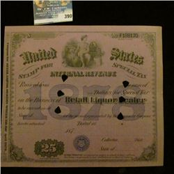 "Hole canceled ""United States Stamp for Special Tax Internal Revenue 1878"" appears unissued, but canc"
