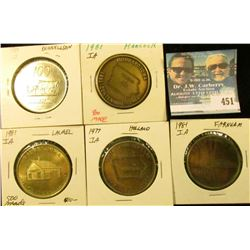 (5) Different Iowa Centennial Medals, includes: Farnhamville, Holland, Laurel, Hubbard, & Donnellson