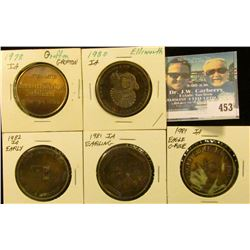 (5) Different Iowa Centennial Medals, includes: Early, Earling, Eagle Grove, Ellsworth, & Grafton, I
