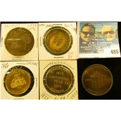 (5) Different Iowa Centennial Medals, includes: Amber No.99, Victor, Missouri Dale, Tingley, & Van H