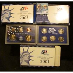 2000 S PROOF STATE QUARTER SET, 2001 S PROOF SET, AND 2005 S PROOF SETS