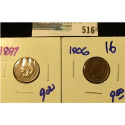 1897 AND 1906 INDIAN HEAD CENTS