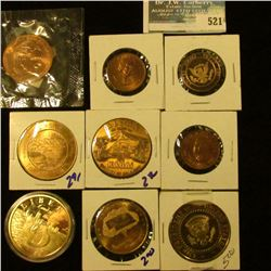EXONUMIA LOT INCLUDES CALVIN COOLIDGE TOKEN, RONALD REAGAN MEDAL, MINT MEDAL, STAUTE OF LIBERTY MEDA