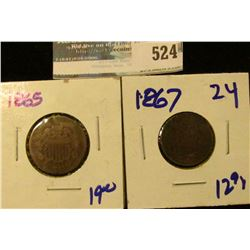 1865 TWO CENT PIECE AND 1865 TWO CENT PIECE