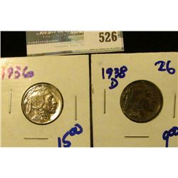 1936 AND 1938-D BUFFALO NICKELS