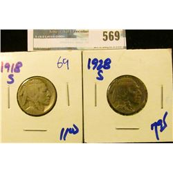 1918-S AND 1828-S BUFFALO NICKELS