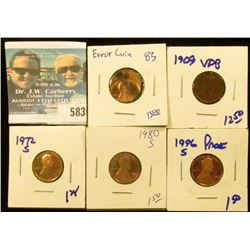 LINCOLN MEMORIAL CENT ERROR COIN, 1972-S PROOF MEMORIAL CENT, 1980-S PROOF MEMORIAL CENT, 1996-S PRO