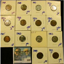 THREE 1909 WHEAT CENTS WITH INFO CARDS, 4 1943 STEEL CENTS, 1932-D, BETTER DATE 1926-S, 1955, 1932-D