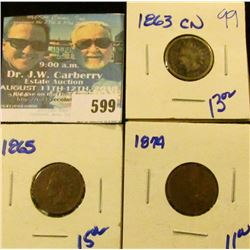 1863-CN, 1865, AND 1874 INDIAN HEAD CENTS
