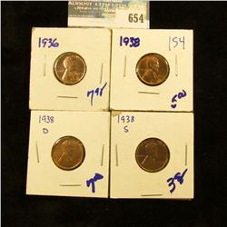 1938, 1938-D, 1938-S , AND 1936 WHEAT CENTS