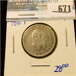 ITALY 1867 ONE LIRE COIN