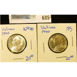 2 HIGH GRADE 1940 5 LIRE COINS FROM THE VATICAN- KM NUMBER 28