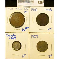 CANADIAN COIN LOT INCLUDES MONTREAL BANK TOKEN, 1927 NICKEL, 1906 LARGE CENT, AND 1907 SILVER 5 CENT