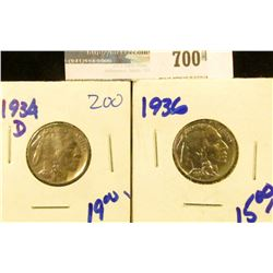 1934-D AND 1936 BUFFALO NICKELS