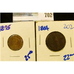 1864 TWO CENT PIECE AND 1875 INDIAN HEAD CENT
