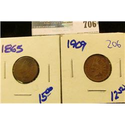 1865 AND 1909 INDIAN HEAD CENTS