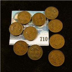 10 NEWFOUNDLAND 1 CENT COINS FROM THE 1940'S