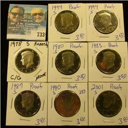 PROOF KENNEDY HALF DOLLAR LOT INCLUDES 1974-S, 87-S, 83-S, 74-S, 78-S, 01-S, 80-S, AND 90-S