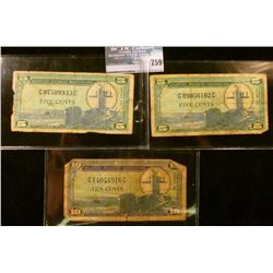 THREE MILITARY PAYMENT CERTIFICATES…  THE FIRST IS A 10 CENT SERIES 681 NOTE.  THE OTHER TWO ARE FIV