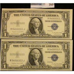 TWO CRISP AND CONSECUTIVE ONE DOLLAR BLUE SEAL SILVER CERTIFICATE SERIES 1935-G.  BOTH NOTES ARE WAY