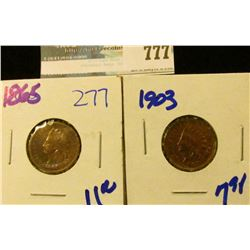 1903 AND 1865 INDIAN HEAD CENTS