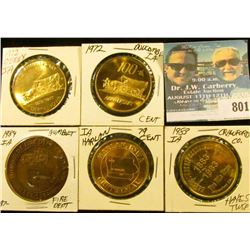 (5) Different Iowa Centennial Medals, includes: Crawford, Co., Harlan, Humboldt, Duncombe, & Derby,