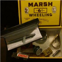 """Marsh 6c Wheeling Mountaineers Established 1840"" Cigar Box with a couple of advertising knives; a p"