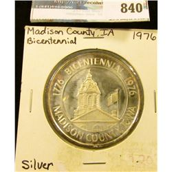 "# 211 1776 Bicentennial 1976 Madison County Iowa ""Delicious Apple"" .999 Fine Silver Medal, 39mm. Gem"