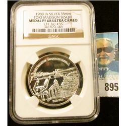 1988 IA SILVER 35mm FORT MADISON SESQUI NGC slabbed MEDAL PF 68 ULTRA CAMEO (31.3g) #35.