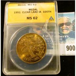 1951 Clear Lake IA 100th Medal, ANACS slabbed MS 62.