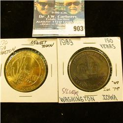 "903 _ ""Sesquicentennial/18391989/Washington, Iowa"" Medal, silver-colored, 39mm; & 1970 Johnston, Iow"