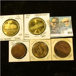 904 _ (5) different Iowa Quasquicentennial Medals, includes: West Chester, Marshalltown, Ackley, Bro