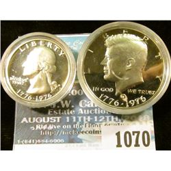 1070 _ 1976 S Silver Proof Bicentennial Quarter & Half-Dollar. Both encapsulated.